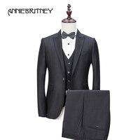 2018 новый бренд черный костюм Для мужчин смокинг жениха формальный пиджак Slim Fit 3 предмета выпускного вечера Свадебный костюм TERNO masculino куртка