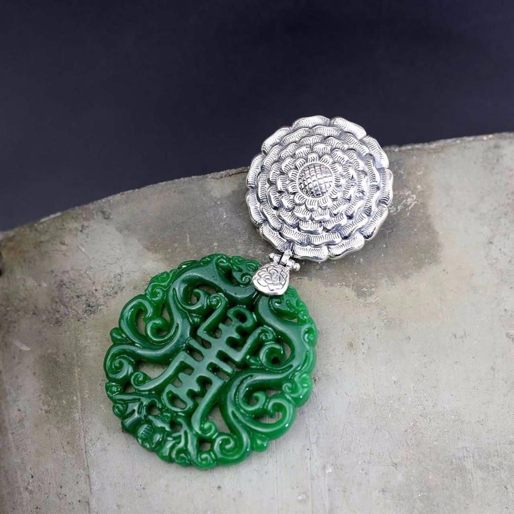 Sceau de Jade impérial chinois exquis sculpté vert Jade femmes colliers 100% 925 en argent Sterling bijoux ethniques pour les femmes Sp11