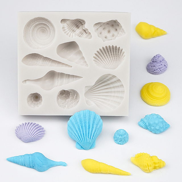 3D Mermaid Tail Cake Silicone Mold Sea Shell Starfish Fondant Molds Cake Decorating Tools Sugar Craft Chocolate Mold Baking Tool