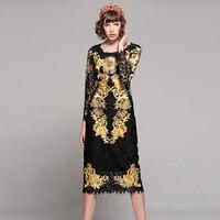 Chất lượng cao 2018 new thời trang runway thiết kế ăn mặc Nữ dài tay áo Hoa chủ đề vàng thêu cổ điển ren váy đen