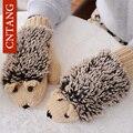 2016 Do Sexo Feminino Inverno Luvas Quentes de Malha Bonito Hedgehog Moda Patchwork Mittens & Luvas Para As Mulheres Luvas De Lã Das Senhoras do Desenhador