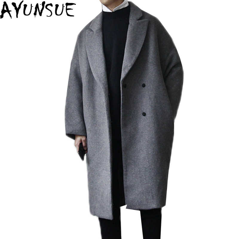 Ayunsue Winter Jas Mannen Dikke Wollen Jas Losse Jassen Mode Bovenkleding Warme Man Casual Overjas Pea Coat Plus Szie LX1104