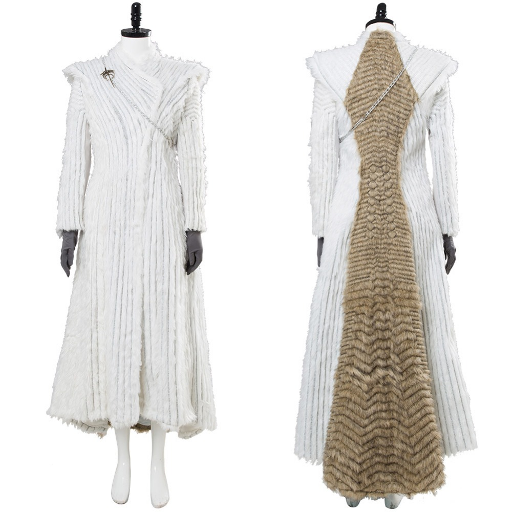 Game of Thrones Season 7 Cosplay E6 Daenerys Targaryen Dany Costume Winter Outfit Dragonstone Snow Dress Halloween Costume