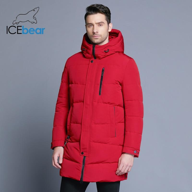 ICEbear 2018 Лидер продаж зима теплый ветрозащитный капюшон Для мужчин куртка теплая Для мужчин парки высокое качество парка модное повседневно...
