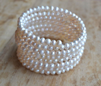 New Arriver Pearl Jewellery,8Rows Natural Freshwater Pearl Bracelet,7inches 3-6MM White,Perfect Girl Wedding Birthday Party Gift