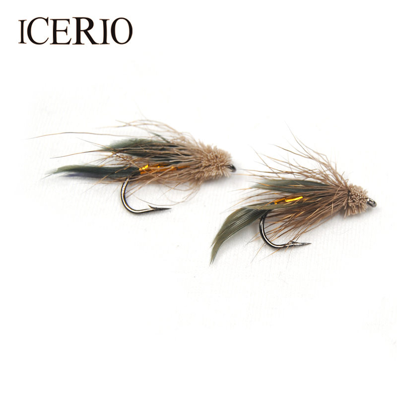 ICERIO 6PCS Brown Deer Hair Gold Body Muddler Minnow Trout Fly Fishing Streamer Flies #6 mnft 10pcs 6 brown color deer hair gold body muddler minnow fly bass fishing lure steamers trout streamer flies
