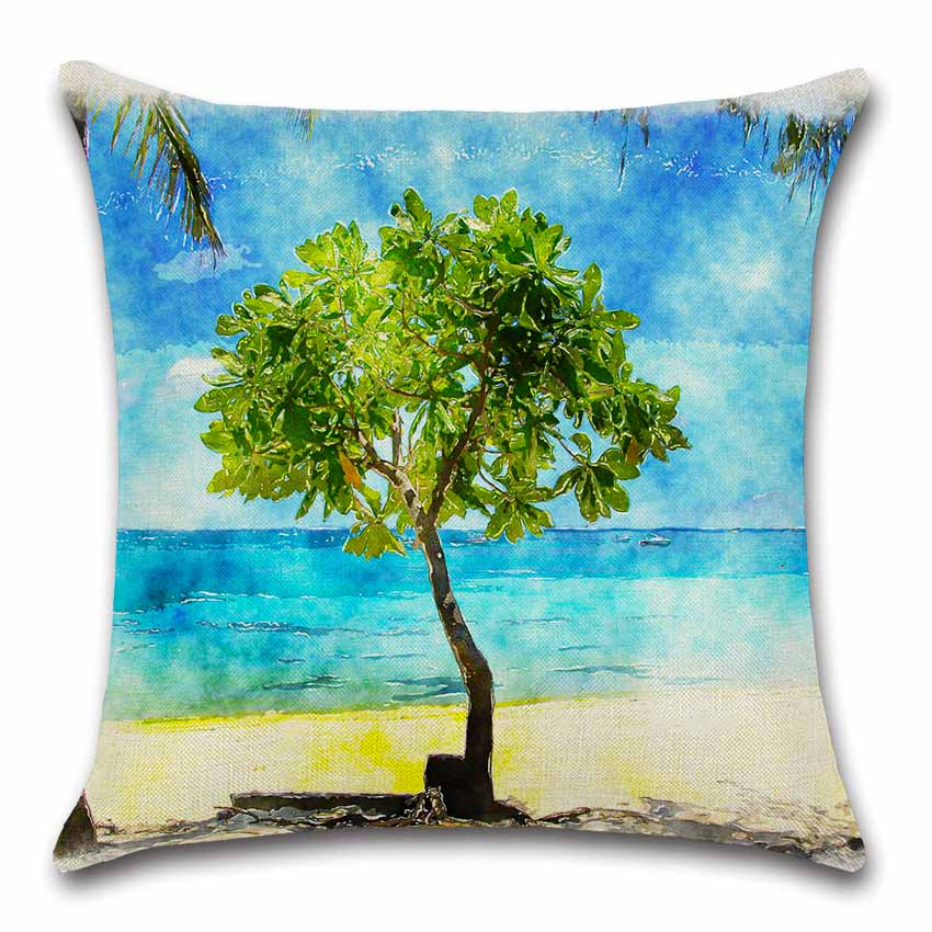 Scenic Green tree flower beach decoration for home party coffee shop seat cushion cover Pillow case Chair sofa kids friend gift