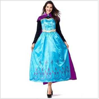 2018 Snow White costume Adult Elsa Anna Cosplay Costumes Adult Princess Anna Dresses Christmas Party Princess Anna Dress фото