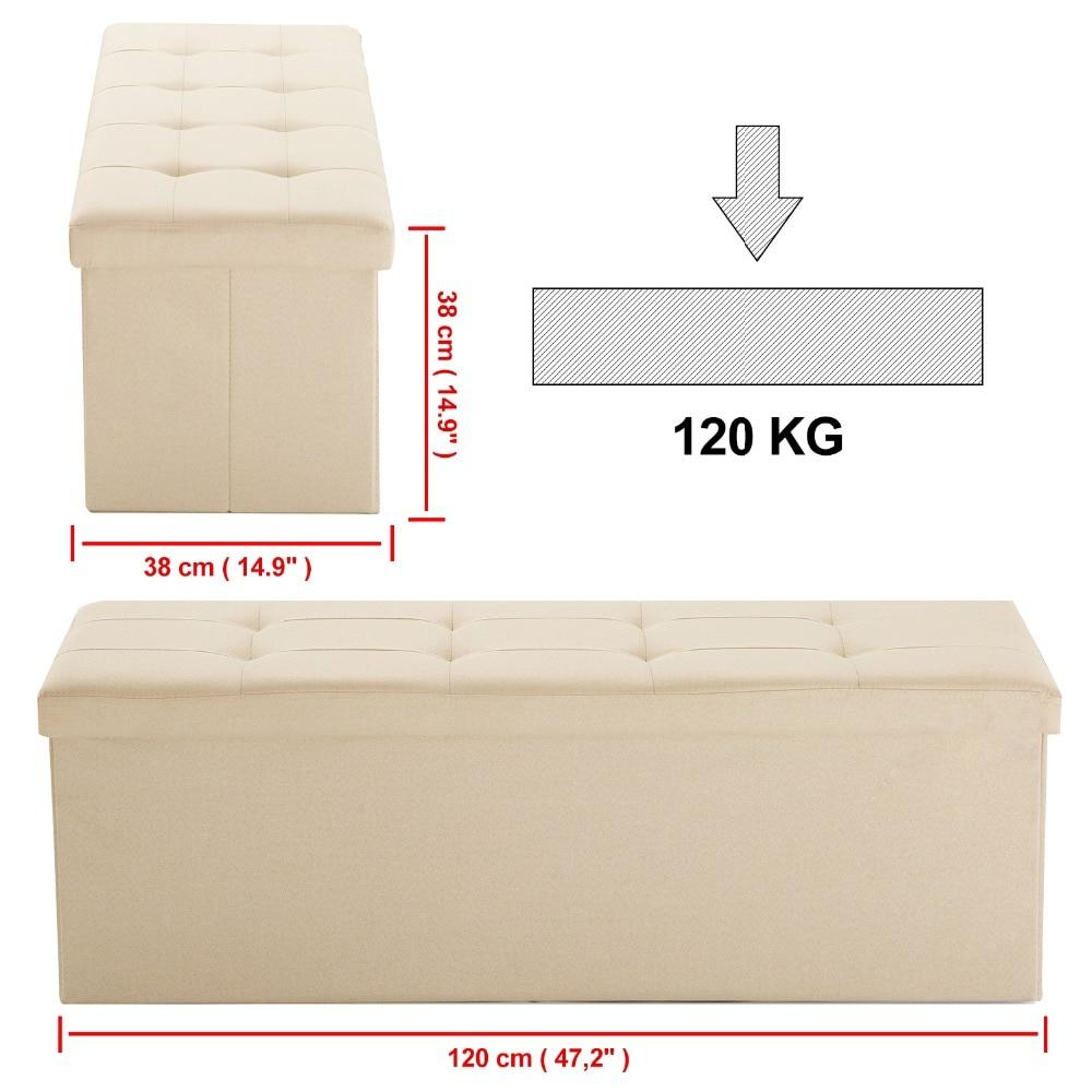 Samincom 47.24L x 15W x 14.17H Classics Foldable Tufted Storage Bench Ottoman Beige Home StoolSamincom 47.24L x 15W x 14.17H Classics Foldable Tufted Storage Bench Ottoman Beige Home Stool