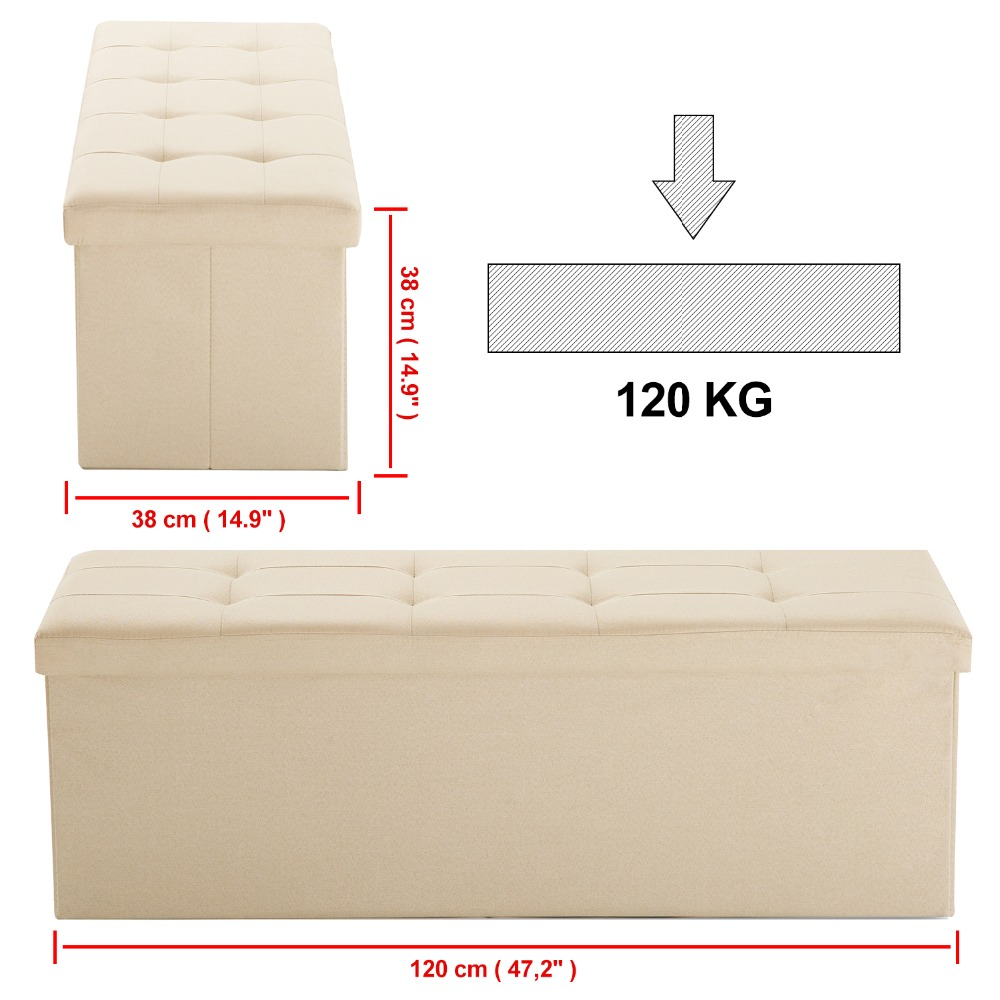 Samincom 47.24L x 15W x 14.17H Classics Foldable Tufted Storage Bench Ottoman Beige Home Stool
