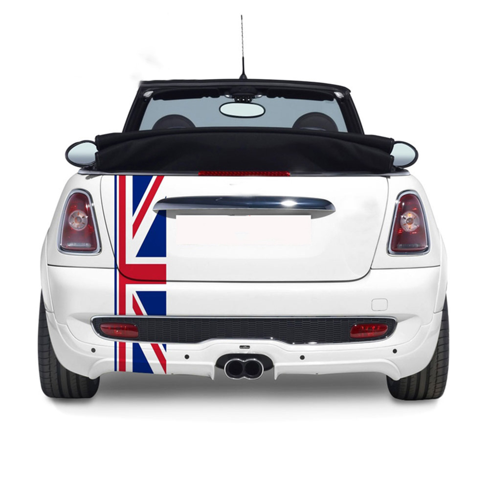 Union Jack Car Rear Trunk Decor Decal Stickers For Mini Cooper One JCW S Clubman F60 R60 R55 Countryman Car Styling Accessories sun protection cool hat car logo for mini cooper s r53 r56 r60 f55 f56 r55 f60 clubman countryman roadster paceman car styling