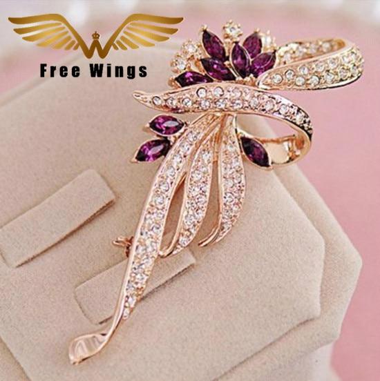 Broche de flor de cristal Pin de solapa Moda Rhinestone Joyas Mujeres Boda Hijab Pins Broches grandes para mujeres H054 B10F0031