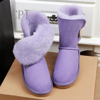 Brand High Quality New Type One Button Snow Boots Women 100 Natural Australian Sheep Skin Female