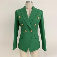 高品質新ファッション 2020 滑走路デザイナーブレザージャケット女性のライオンボタンダブルブレスト織ブレザージャケット