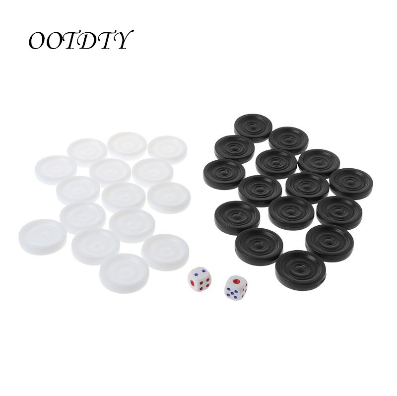 30pcs Black White Backgammon Chess Plastic International Draughts Checkers Board Game Kid Children Toy Journey Picnic Game