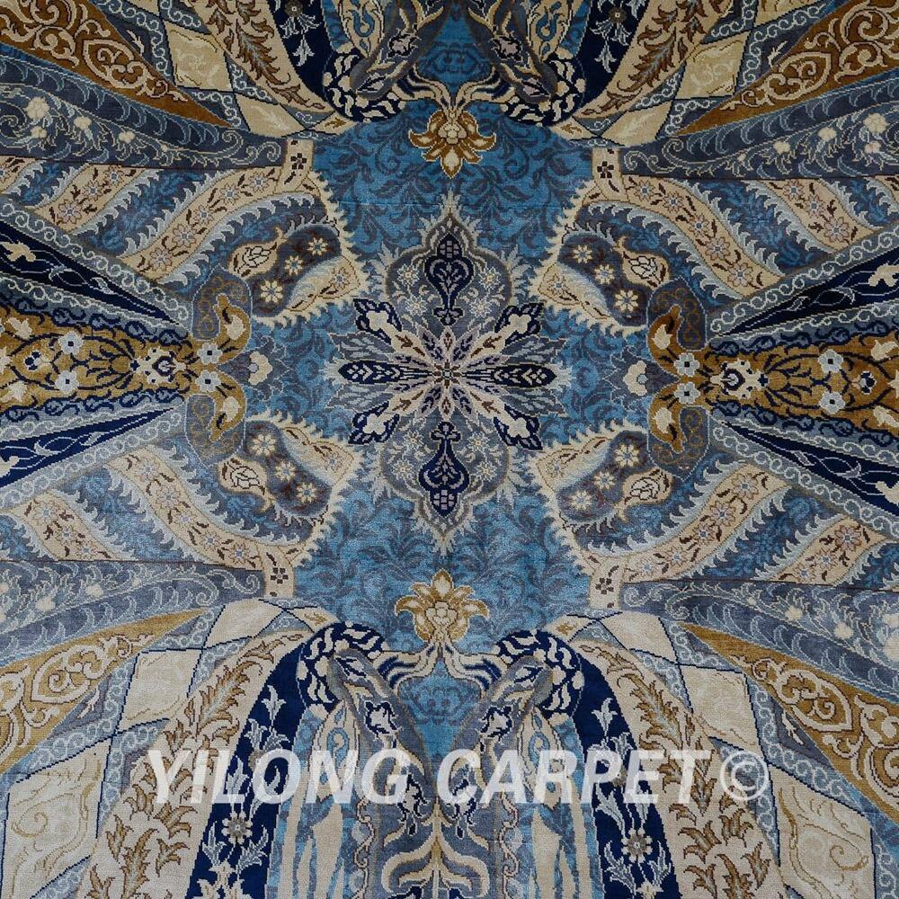 Yilong 6.56'x9.84 'hurtownia orientalny dywan niebieski iran qum - Tekstylia do domu - Zdjęcie 5