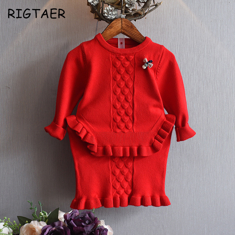 baby girl clothing sets girls knit sweater skirt two-pieces suits autumn winter children jacquard lotus leaf side baby clothes 2017 autumn girl doll shirt the fashionable two piece set of pure color lotus leaf coat with harness sets tide