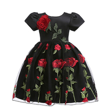 цена на Baby Girls Dress Summer Clothes Short sleeve embroidered tutu Children Birthday Party Costume embroidered flower princess dress