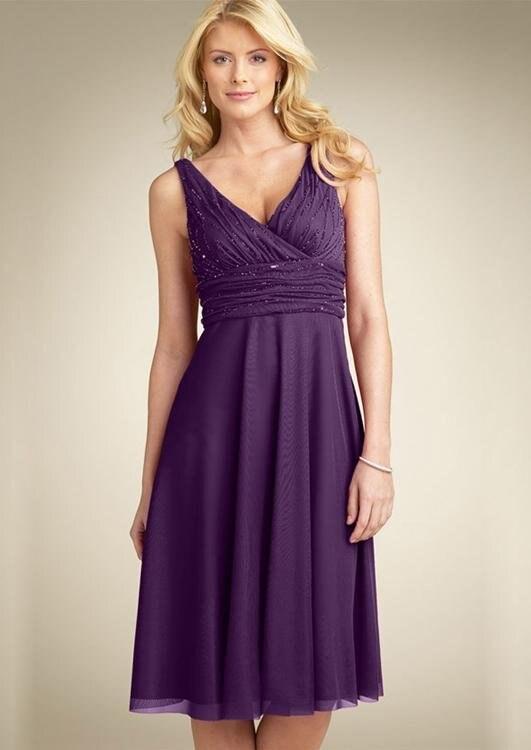 V neck tea length bridesmaid dresses a line knee length for A line tea length wedding dress