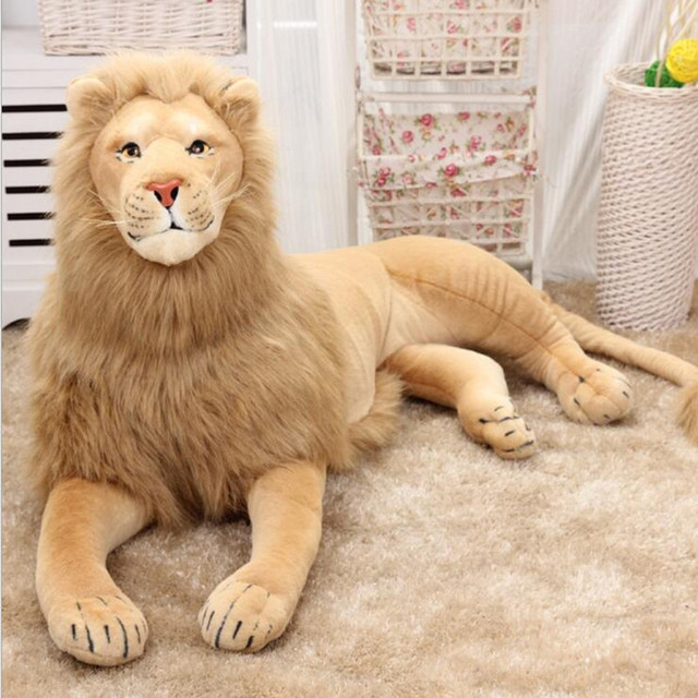 New Big Size 70cm/110cm/120cm Real Life Lion Stuffed Plush Toys Artificial animal Toy Doll Home Accessories Gift Toys Juguetes