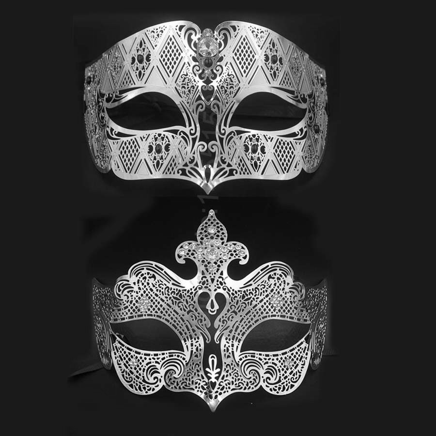 Black Metal Venetian Couples Wedding Masquerade Costume Mask Set Elegant Prom