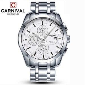 Image 2 - Relogio Masculinoใหม่Carnivalอัตโนมัตินาฬิกาผู้ชายผู้ชายนาฬิกาหนังกันน้ำ 8659Gนาฬิกาข้อมือSapphire