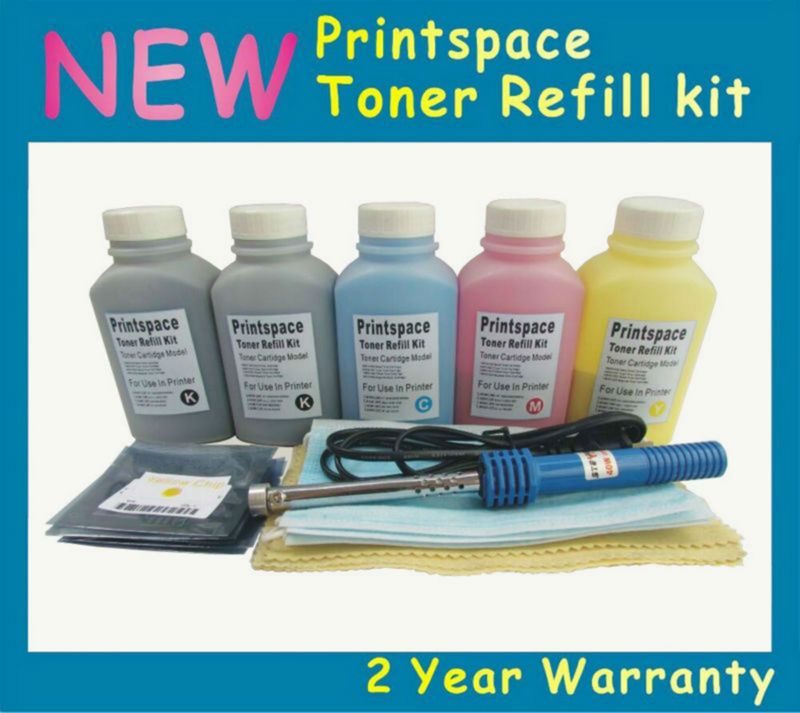 5x NON-OEM Toner Refill Kit + Chips Compatible For HP 641A C9720A Color laserjet 4650 4650n 4650dn 4650dtn 4650hdn new for hp color laserjet cm1415fn mfp cm1415fnw low price for hp ce320a ce321a ce322a ce323a bottle toner powder refill kit