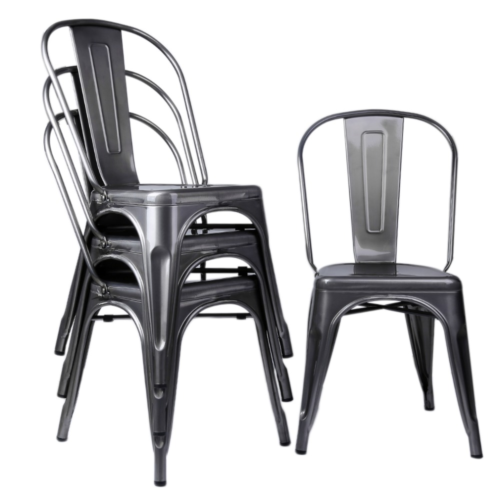 (Ship From UK)4pcs Classic Metal Industrial Dining Lunch Chair Kitchen Cafe Bistro Indoor Wedding Party Comfortable Vintage Seat