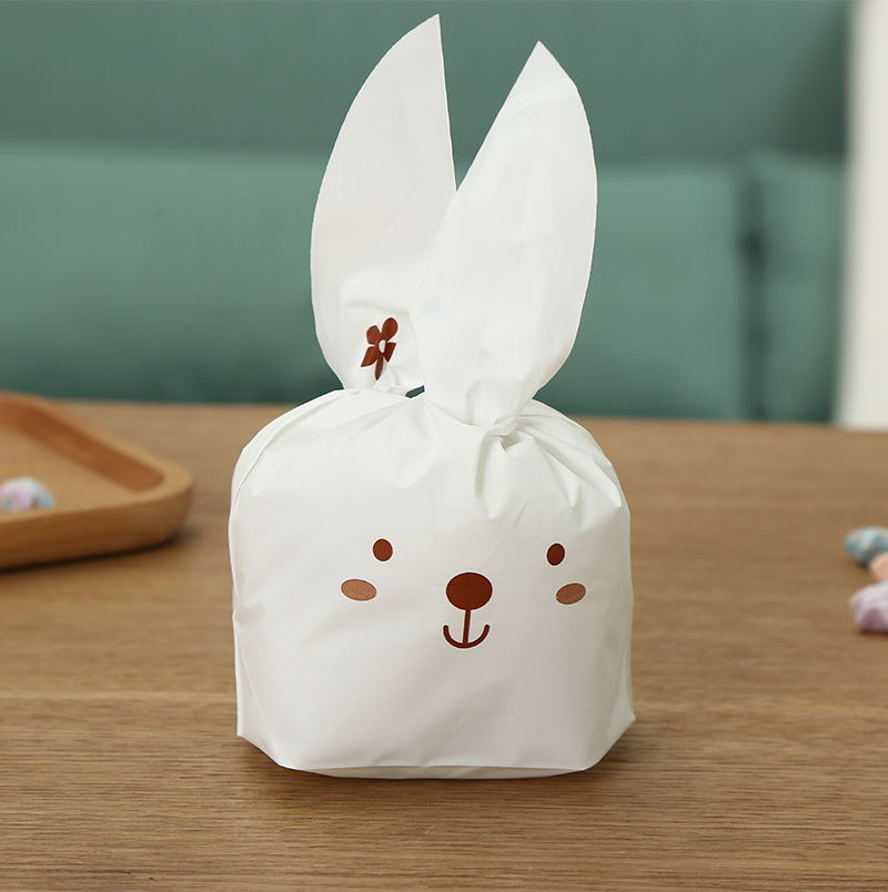 200pcs Cute long ears rabbits Snack paking bag Wedding birthday party candy biscuit decorations bag.Multi size option