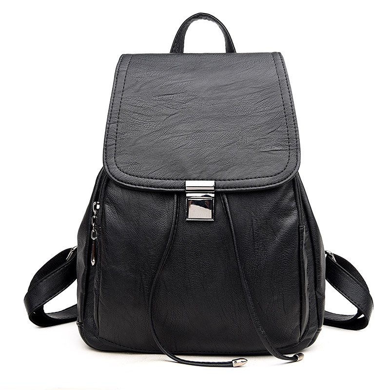 Fashion Women Backpack High Quality PU Leather Mochila Escolar School Bags For Teenagers Girls Top handle