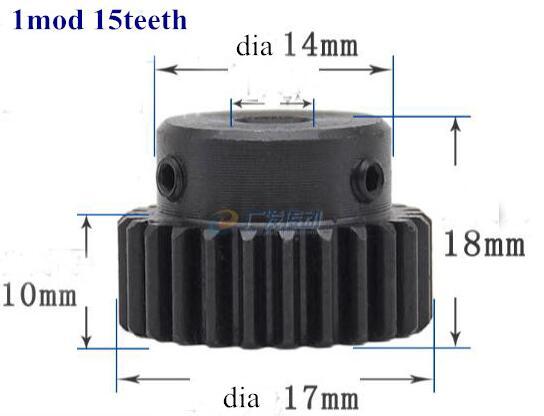 60 pièces engrenage à denture droite 1 mod 15 dents pignon robot course transmission voiture RC