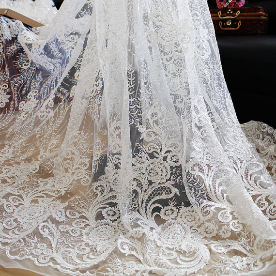 d999c710fb5 1 yard Alencon Ivory Lace Fabric with grace floral