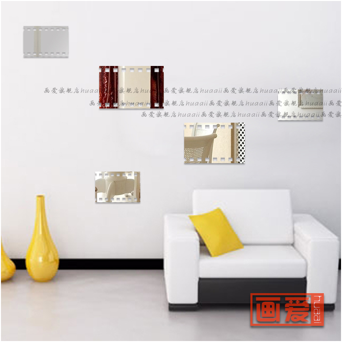 Mirror acrylic three dimensional wall stickers bathroom elegant decoration mirror (6 pcs 2 S +2 M + 2 L)