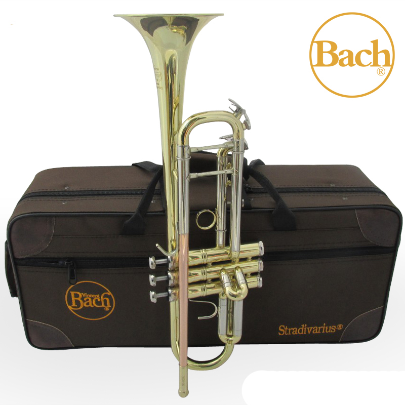 TR 800G Bach Trumpet Bb Professional Instruments Gold and Silver Lacquer Plated Brass Musical Instrument Bb Trumpet with case