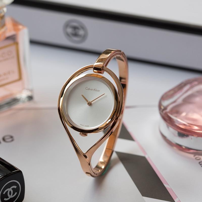 CalvinKlein Watch Simple Scaleless Rose Gold Quartz Women's Watch K6L2S616