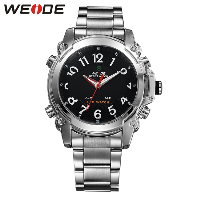 WEIDE Brand Men Sports Watches Dual Display Analog Digital LED Quartz watches 30M Waterproof Stainless Steel Band Gift For Men