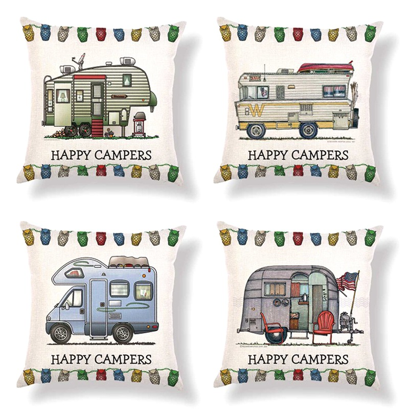 45cm*45cm Retro Touring Car Caravan Design Linen/cotton Throw Pillow Covers Cartoon Car Home Decorative Cushion Cover