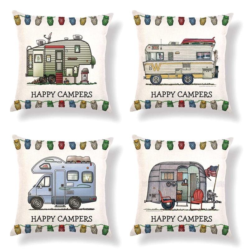 45cm*45cm Retro Touring Car Caravan Design Linen/cotton Throw Pillow Covers Cartoon Car Home Decorative Cushion Cover