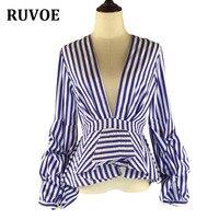Puff Sleeve Blue White Stripe Blouse Shirts Ruffles Trim Women Sexy V Neck Fashion New Tops Clothing Blusas Plus Size XXXL 4XL