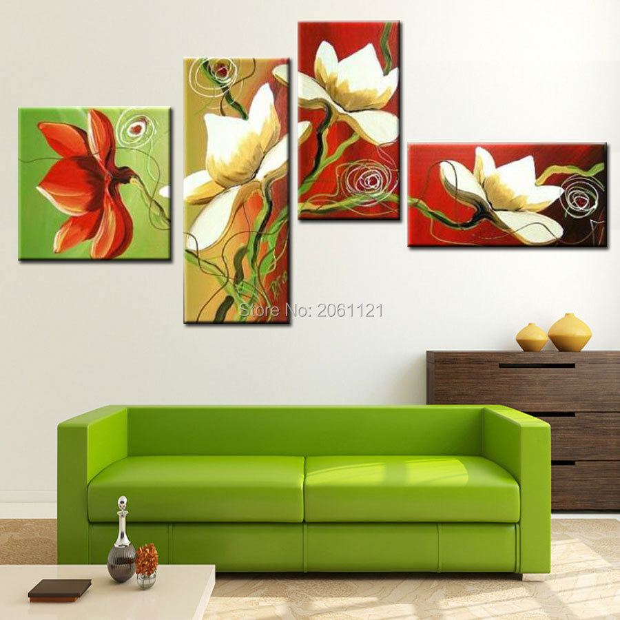 4 panels irregular modern group canvas painting flowers red green wall oil bright living room decoration art gift