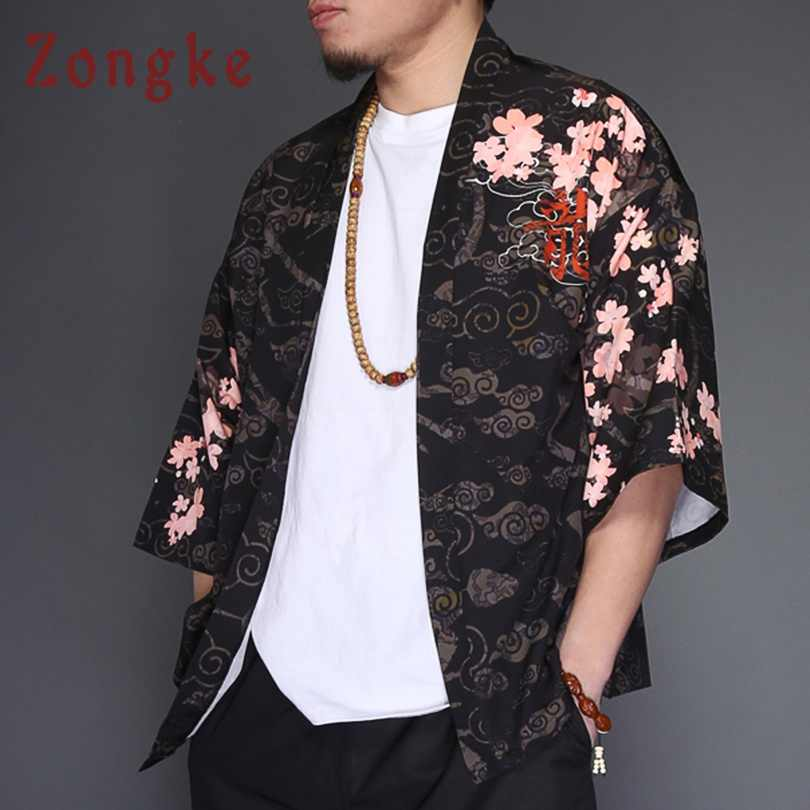 Zongke Dragon Kimono veste hommes japonais Streetwear Kimono Cardigan veste hommes noir coupe-vent hommes veste manteau 2018 été