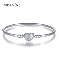 Authentic 925 Sterling Silver Women Heart Crystal Chain Love Bracelets & Bangles Fit Women Pan Charms Bead Jewelry