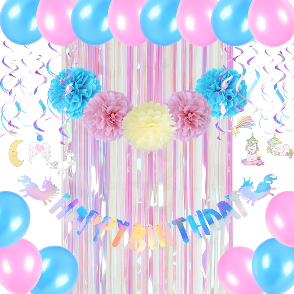 US $13 5 15% OFF Iridescent Unicorn Birthday Party Decor Rainbow Happy  Birthday Banner Swirl Curtain Balloons Shine Party Supplies New-in Party  DIY