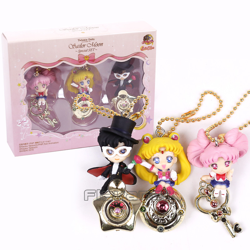 Twinkle Dolly Sailor Moon Tsukino Usagi Chibi Usa Tuxedo Mask Mini PVC Figures Toys Pendants 3pcs/set 5cm usagi yojimbo book 5 lone goat and kid