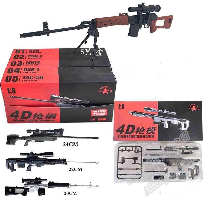 """5 pçs 1:6 montar revestido arma modelo sniper rifle svd PSG-1 mk14 DSR-1 TAC-50 kits de arma para 12 """"figura ação coleção brinquedo"""