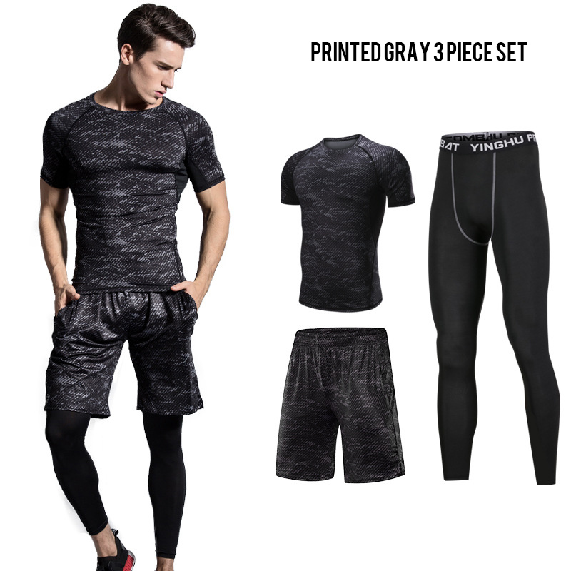 BINTUOSHI 3Pcs Mens Sports Suit Printed Breathable Male Fast-drying Fitness Set Running Training Elastic Tight-fitting