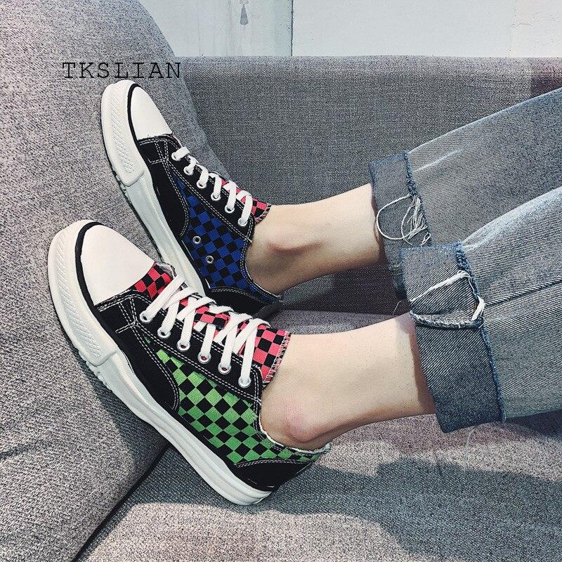Sneakers Men Vulcanize-Shoes Checkered Platform Flats Canvas-Colors Male Men's Mans Summer