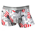 2017 Hot Sexy Underwear Men Boxers Shorts Cueca Ice Silk U Convex Letter Printed White Underpant Male calzoncillos marca 301