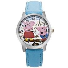 ot Wholesale 10PCS / LOT piggy child quartz watch girl printing leather belt plastic shell cartoon child watch