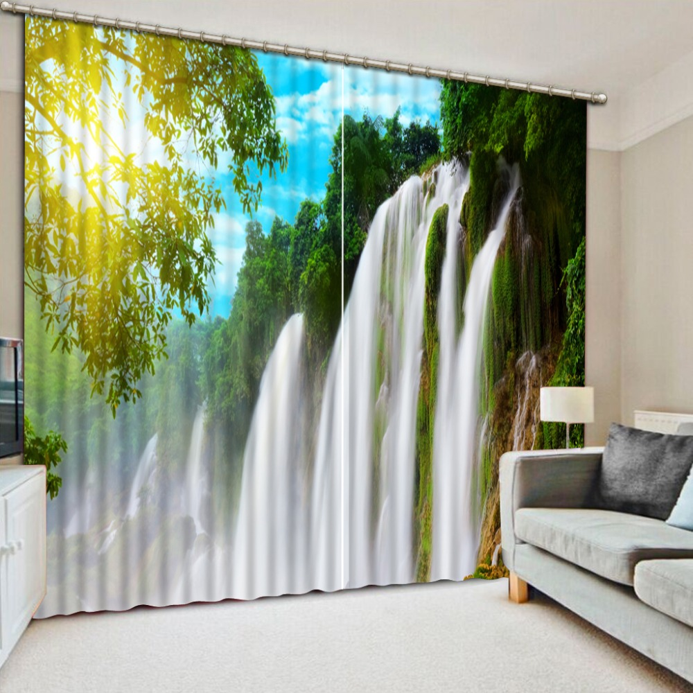 European Luxury Curtains The Living room Bedroom Curtains waterfall nature scenery Window Curtain Cotton DrapesEuropean Luxury Curtains The Living room Bedroom Curtains waterfall nature scenery Window Curtain Cotton Drapes